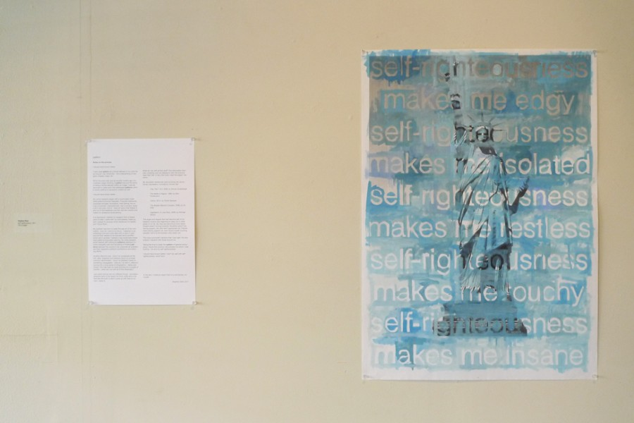 self-righteousness, 2011, oil on printed paper. Installed with &quot;notes on the process&quot;.